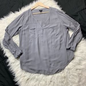 torrid | gray button popover blouse
